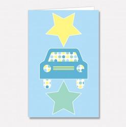 Stort kort Blå stjernebil