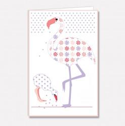 Stort kort Flamingo mor & barn