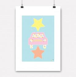 plakat rosa stjernebil