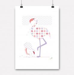 plakat flamingo mor og barn