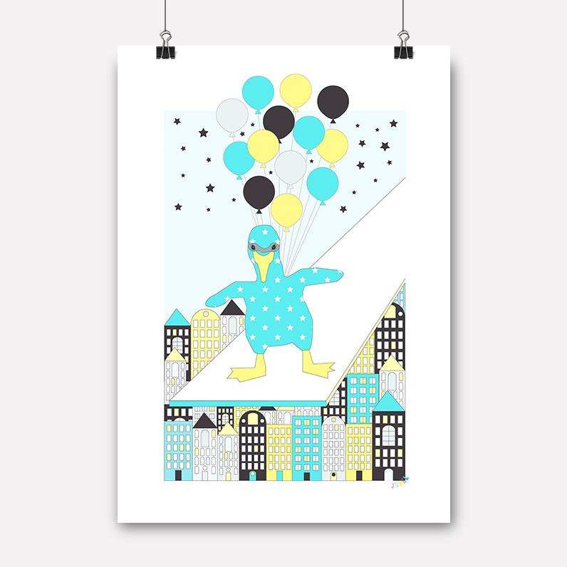 Plakat - Ballongflamingo - Jubelshop