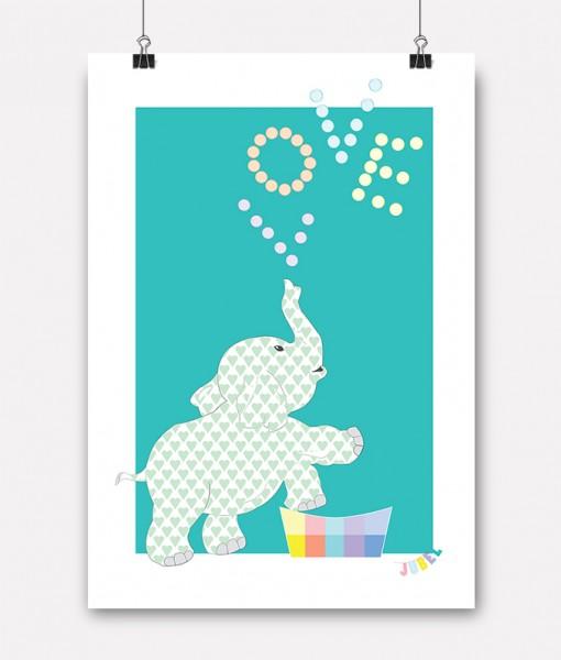 ... -jubelshop-plakat-barnerom-valentine-elefant-Turkis-Jubelfant-Love