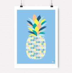 Jubel-jubelshop-plakat-barnerom-frukt-Blå-Ananas