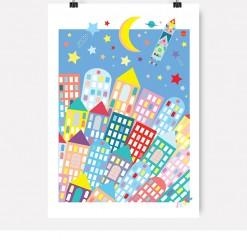 Plakat, jubel, jubelshop, rakett, romskip, space, verdensrommet, barnerom, barnerommet, design, plakatdesign, barneromsdesign