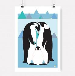 Pingvin-plakat-jubel-jubelshop-pingvinfamilie-is