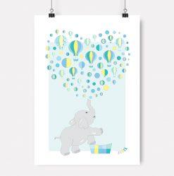 Jubel-jubelshop-barnerom-plakat-elefant-luftballong-Gul-jubelfant