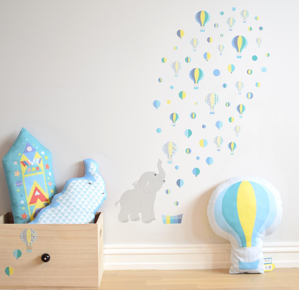 ... oppbevaring-kasse-skuff-elefant-rakett-barnerom-barn-luftballong-dekor