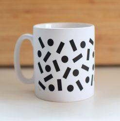 kopp-jubel-jubelshop-voksenkopp-fargerik-kopper-kopp med motiv-konfetti-svarthvite