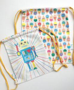 Bag-jubel-jubelshop-stor-liten-robot-iskrem-gymbag-bagnett-sekk-barnesekk